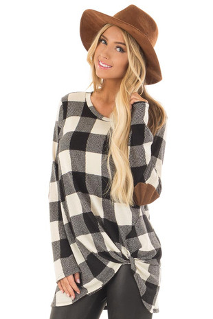 Black and Ivory Plaid Top with Front Twist and Elbow Patches front close up