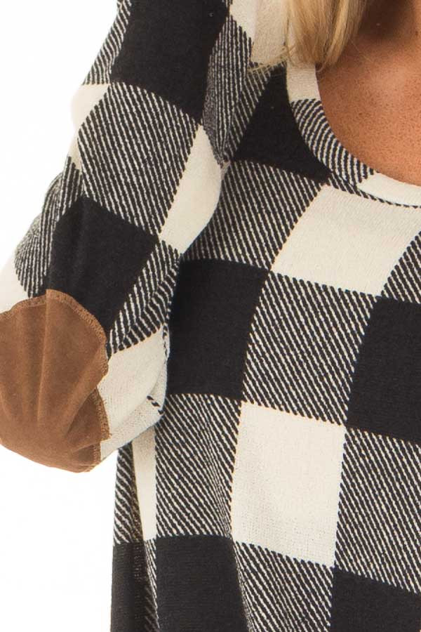 Black and Ivory Plaid Top with Front Twist and Elbow Patches detail