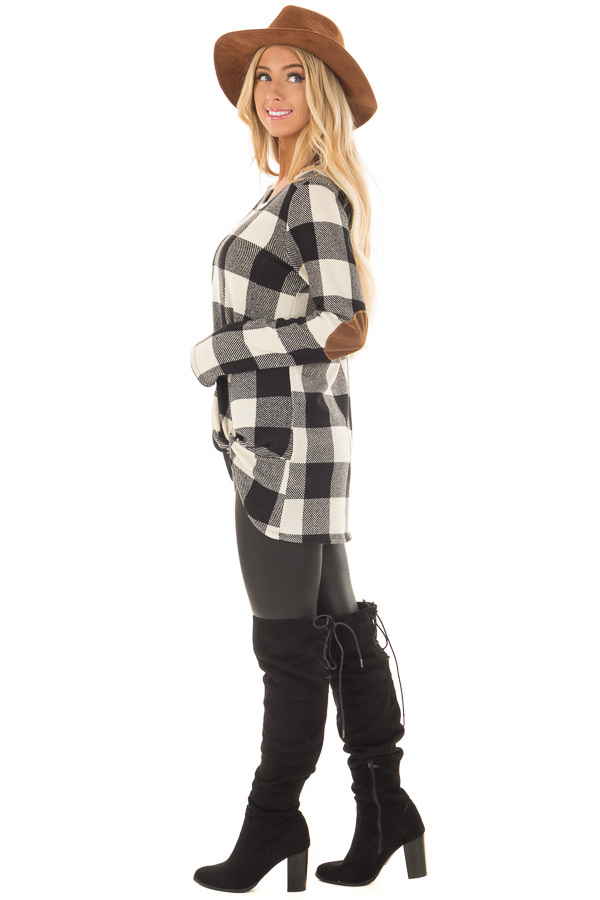 Black and Ivory Plaid Top with Front Twist and Elbow Patches side full body