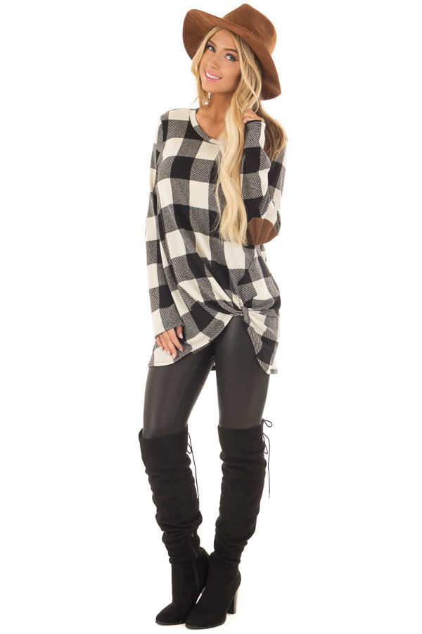 Black and Ivory Plaid Top with Front Twist and Elbow Patches front full body