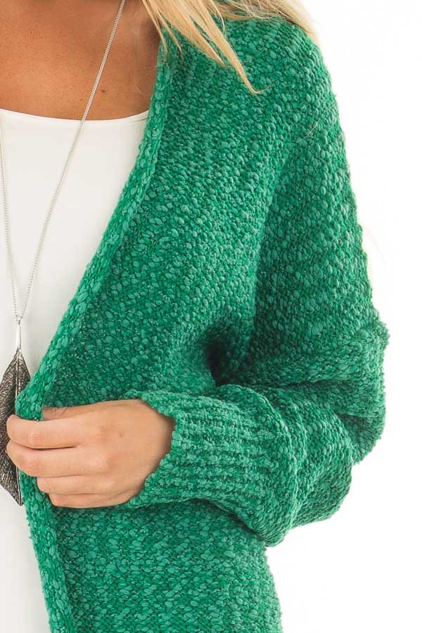 Kelly Green Cardigan with Hidden Pockets front detail