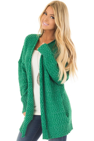 Kelly Green Cardigan with Hidden Pockets front closeup