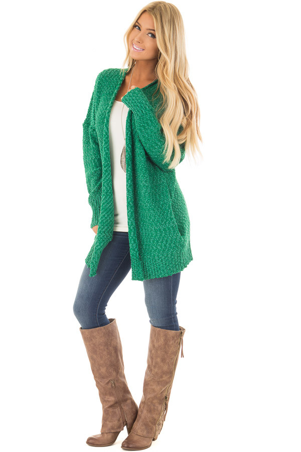 Kelly Green Cardigan with Hidden Pockets front full body
