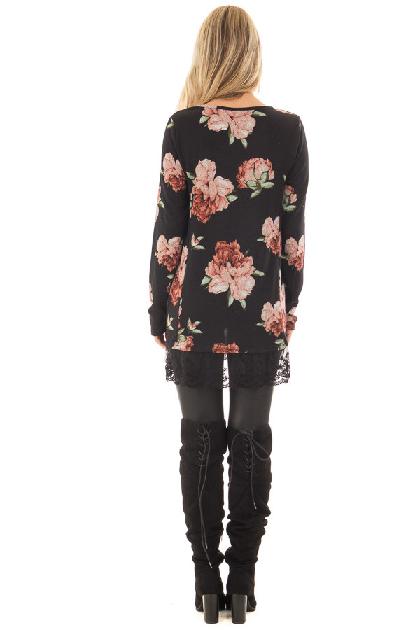 Black Floral Print Tunic with Sheer Lace Contrast back full body