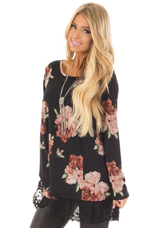 Black Floral Print Tunic with Sheer Lace Contrast front closeup