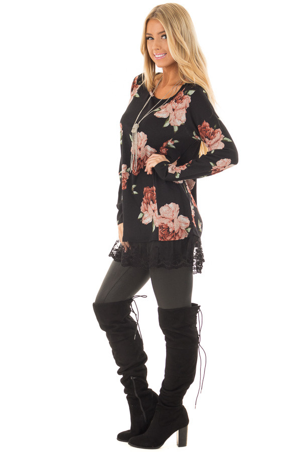 Black Floral Print Tunic with Sheer Lace Contrast side full body