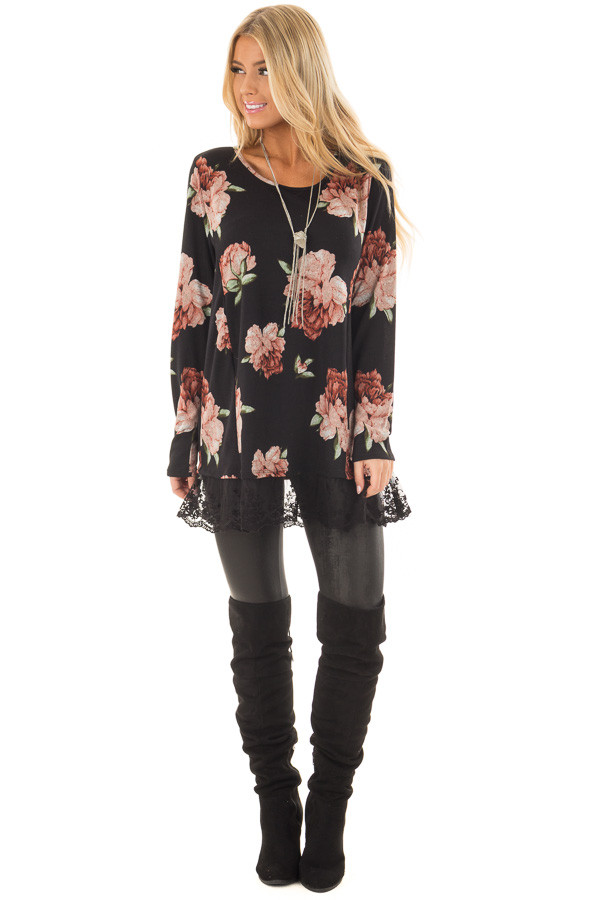 Black Floral Print Tunic with Sheer Lace Contrast front full body