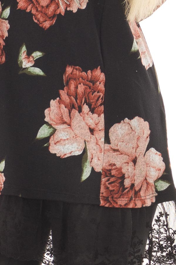 Black Floral Print Tunic with Sheer Lace Contrast front detail