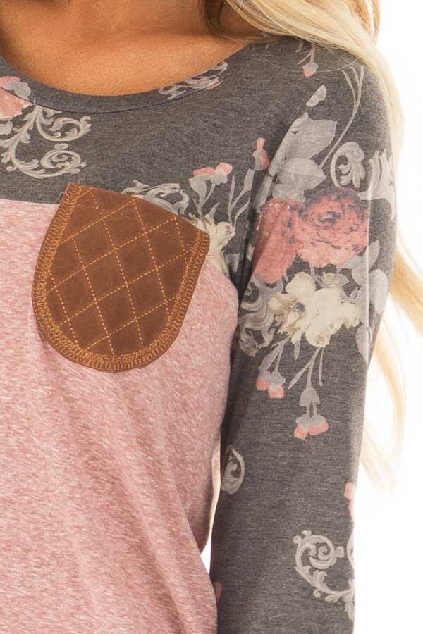 Blush Two Tone Top with Charcoal Floral Print Contrast front detail