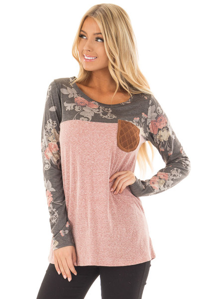 Blush Two Tone Top with Charcoal Floral Print Contrast front closeup
