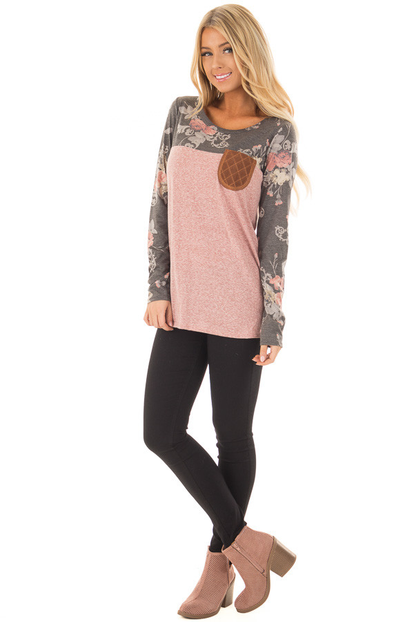 Blush Two Tone Top with Charcoal Floral Print Contrast front full body
