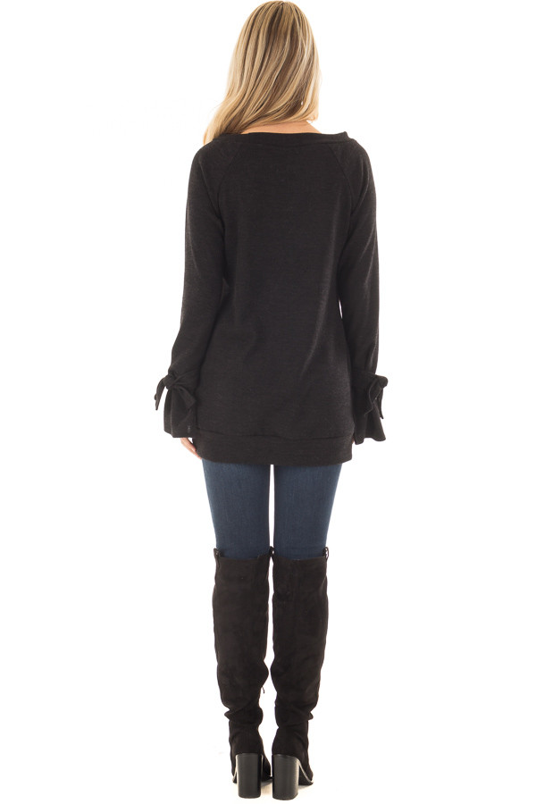 Black Boatneck Tunic Sweater with Tie Sleeve Detail back full body