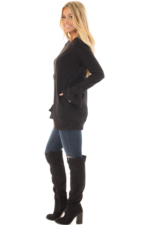 Black Boatneck Tunic Sweater with Tie Sleeve Detail side full body
