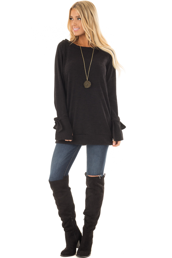 Black Boatneck Tunic Sweater with Tie Sleeve Detail front full body