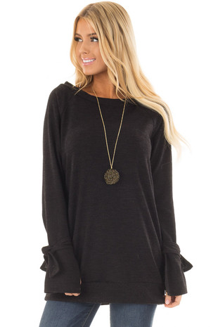 Black Boatneck Tunic Sweater with Tie Sleeve Detail front closeup