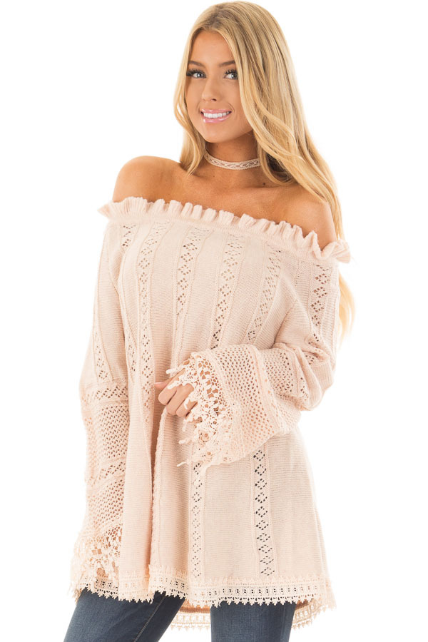 Blush Off the Shoulder Top with Sheer Crochet Details front closeup