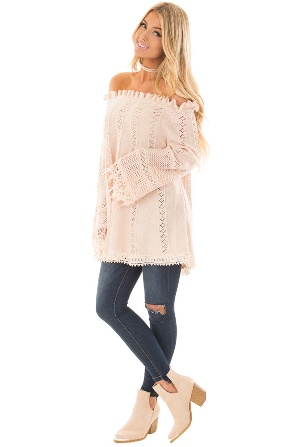 Blush Off the Shoulder Top with Sheer Crochet Details front full body