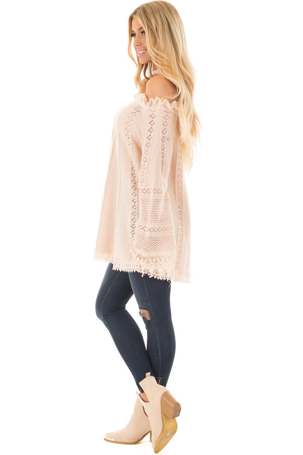 Blush Off the Shoulder Top with Sheer Crochet Details side full body