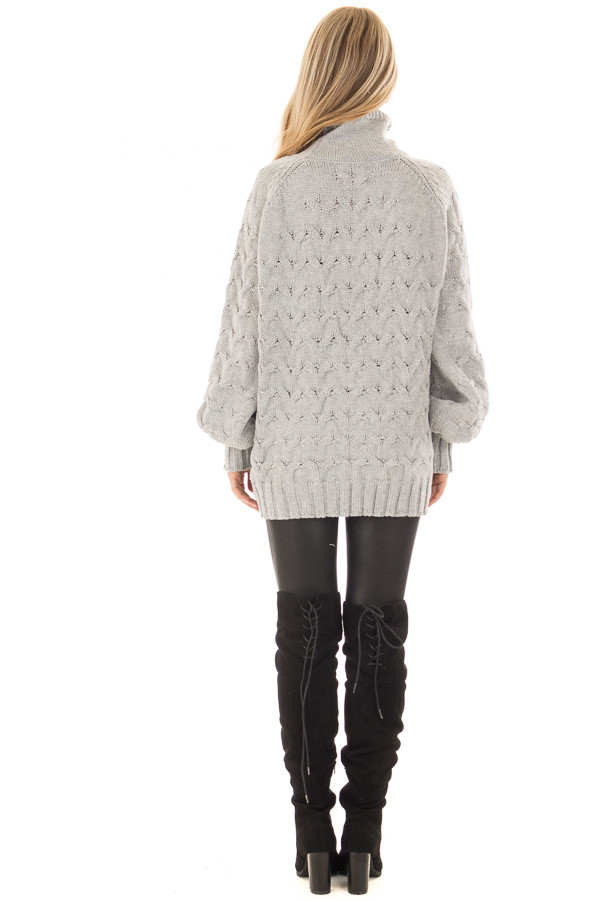 Heather Grey Cable Knit Turtleneck Sweater back full body