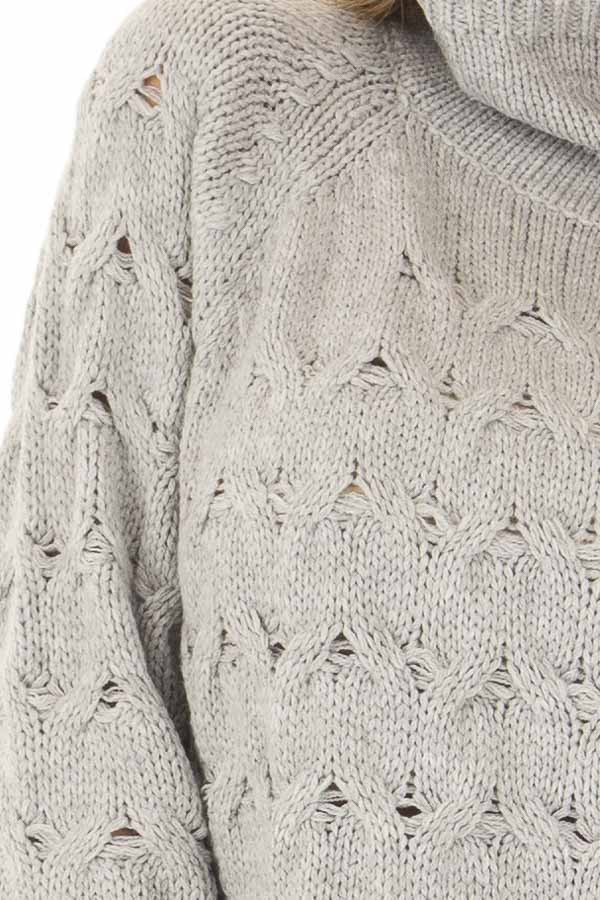 Heather Grey Cable Knit Turtleneck Sweater front detail