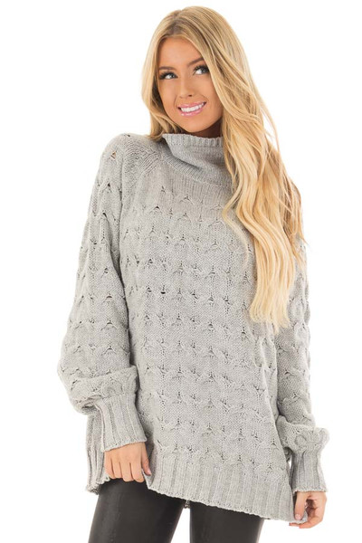 Heather Grey Cable Knit Turtleneck Sweater front closeup