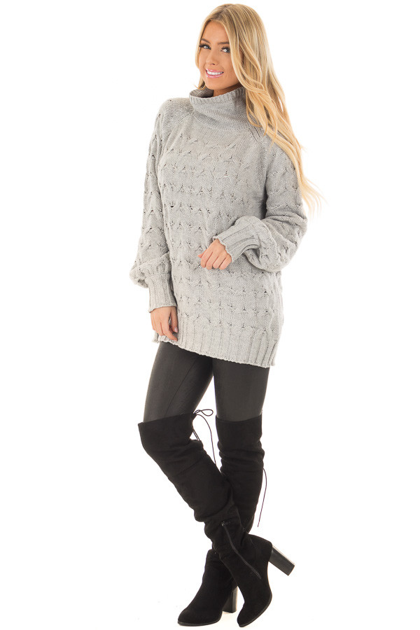 Heather Grey Cable Knit Turtleneck Sweater front full body