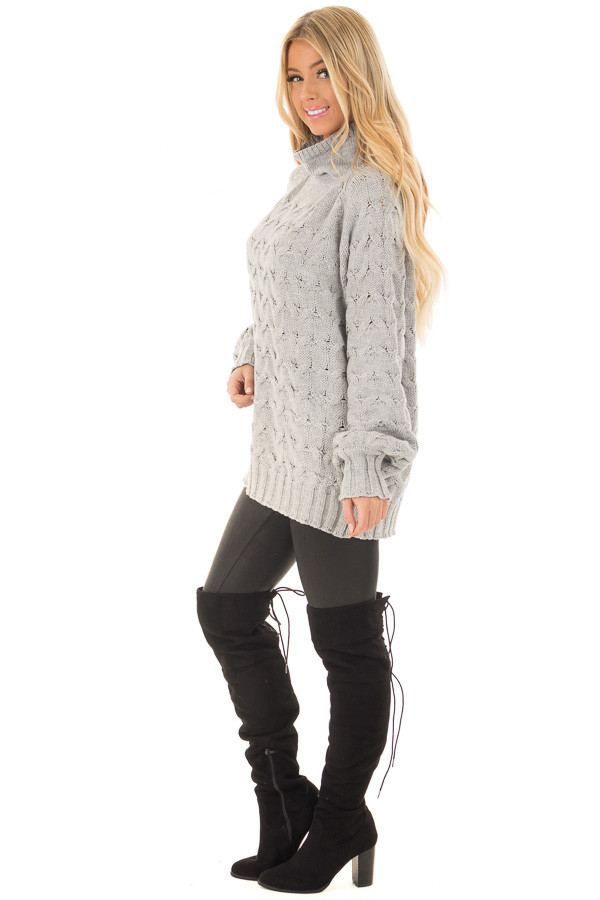 Heather Grey Cable Knit Turtleneck Sweater side full body