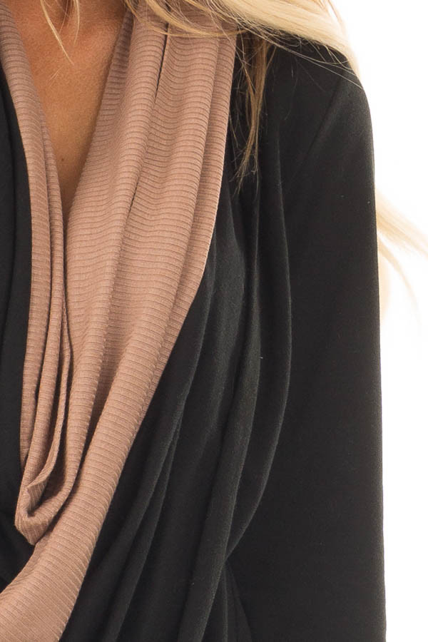 Black and Taupe Color Block Cardigan with Large Cowl Neck front detail