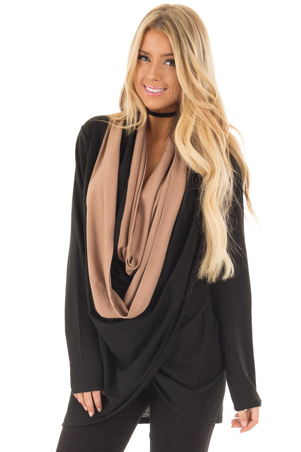 Black and Taupe Color Block Cardigan with Large Cowl Neck front closeup