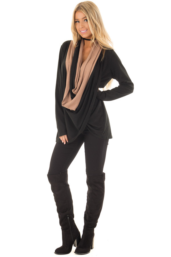 Black and Taupe Color Block Cardigan with Large Cowl Neck front full body