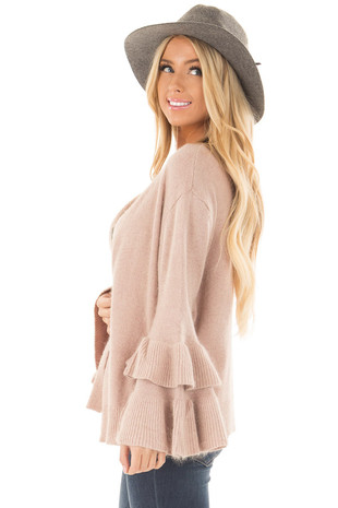 Rose Pink Cardigan with Tiered Bell Sleeves side closeup