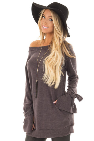 Mocha Boatneck Tunic Sweater with Tie Sleeve Detail front closeup