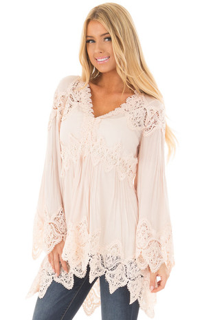 Blush Scallop Edged Crochet Detailed High-Low Tunic Top front closeup