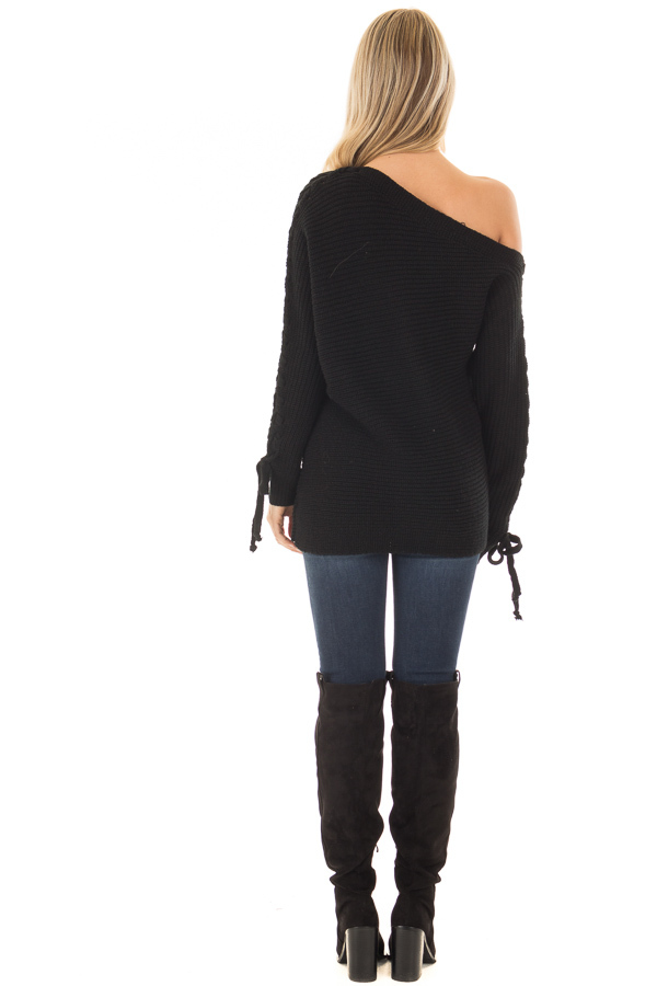 Black Off the Shoulder Lace Up Long Sleeve Sweater back full body