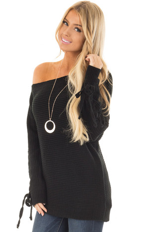 Black Off the Shoulder Lace Up Long Sleeve Sweater front closeup