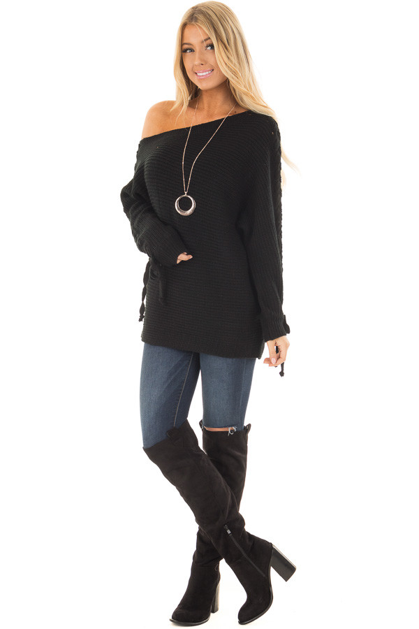 Black Off the Shoulder Lace Up Long Sleeve Sweater front full body