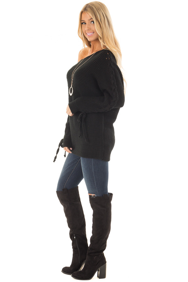 Black Off the Shoulder Lace Up Long Sleeve Sweater side full body