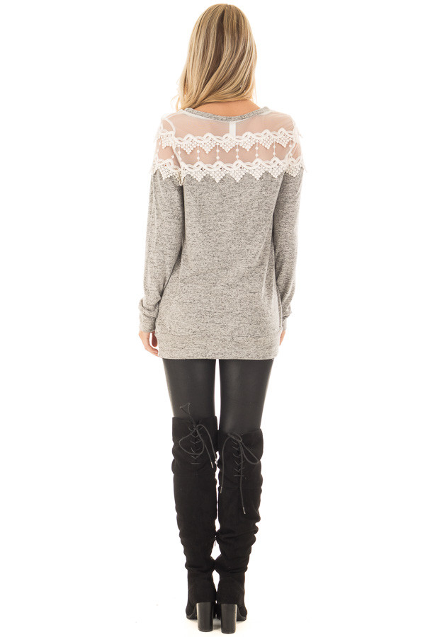 Heather Grey Two Tone Top with Sheer Lace Upper back full body