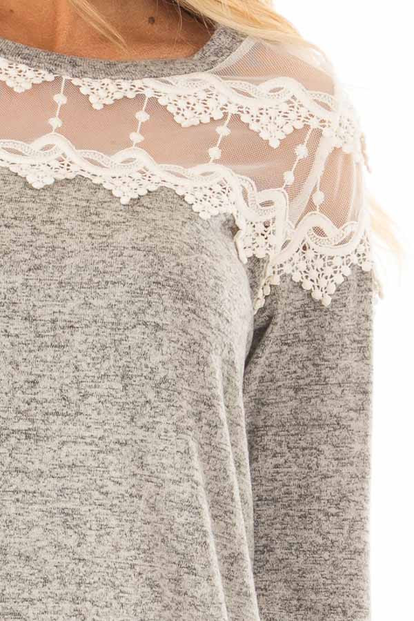 Heather Grey Two Tone Top with Sheer Lace Upper front detail