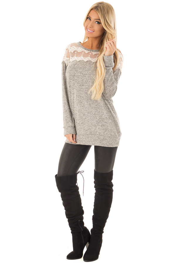 Heather Grey Two Tone Top with Sheer Lace Upper front full body