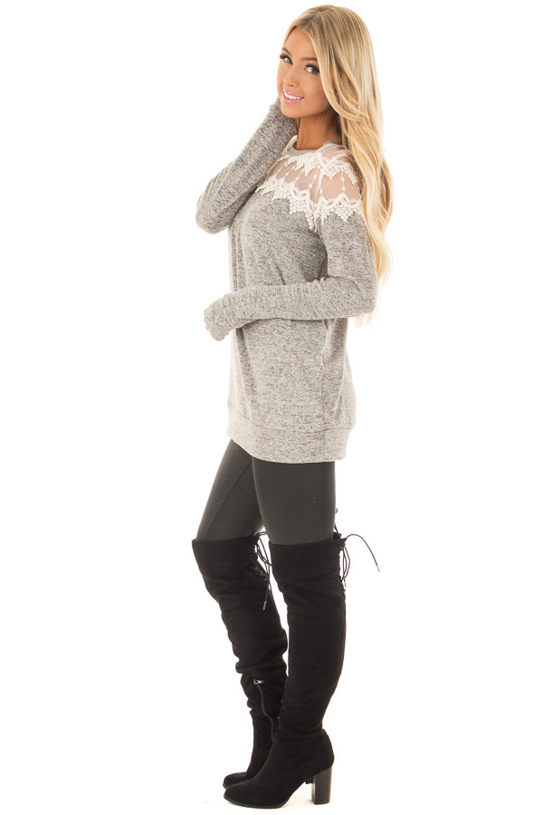 Heather Grey Two Tone Top with Sheer Lace Upper side full body