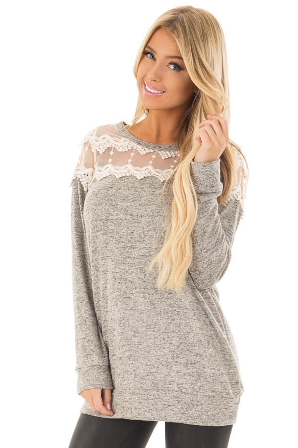 Heather Grey Two Tone Top with Sheer Lace Upper front closeup