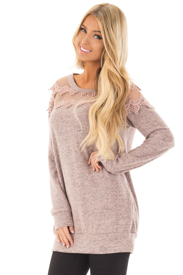 Mauve Two Tone Top with Sheer Lace Upper front closeup