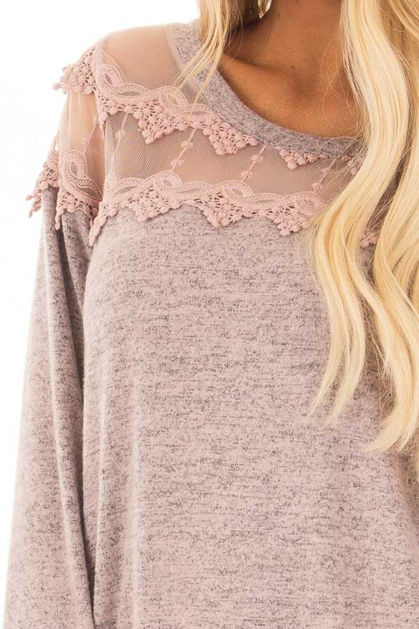 Mauve Two Tone Top with Sheer Lace Upper front detail