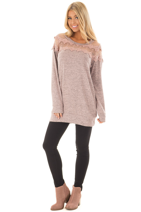 Mauve Two Tone Top with Sheer Lace Upper front full body