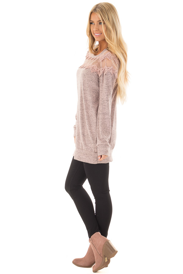 Mauve Two Tone Top with Sheer Lace Upper side full body