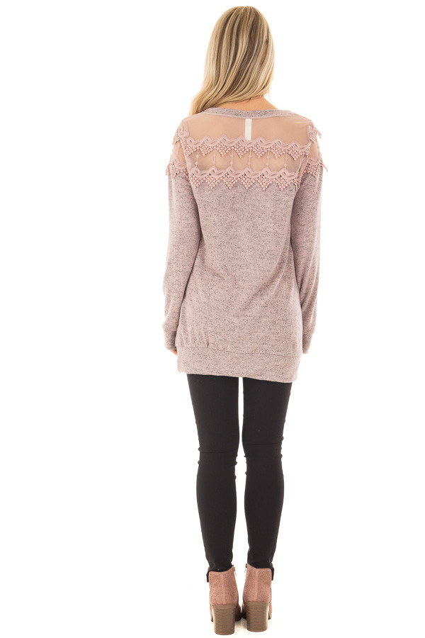 Mauve Two Tone Top with Sheer Lace Upper back full body
