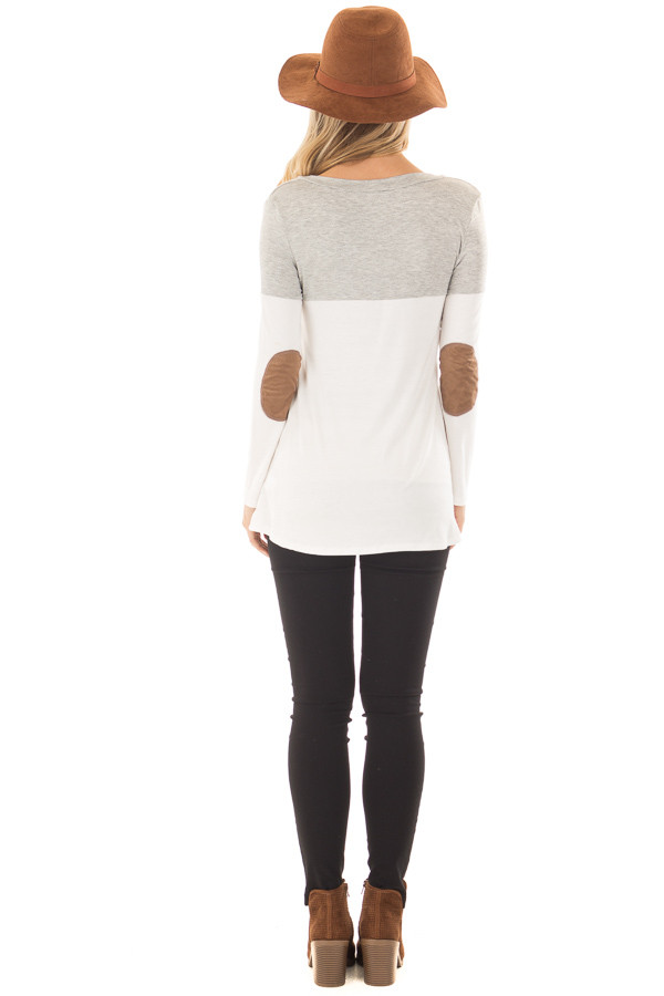 Heather Grey and Ivory Top with Faux Suede Pocket back full body