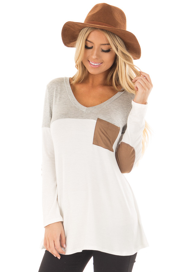 Heather Grey and Ivory Top with Faux Suede Pocket front closeup
