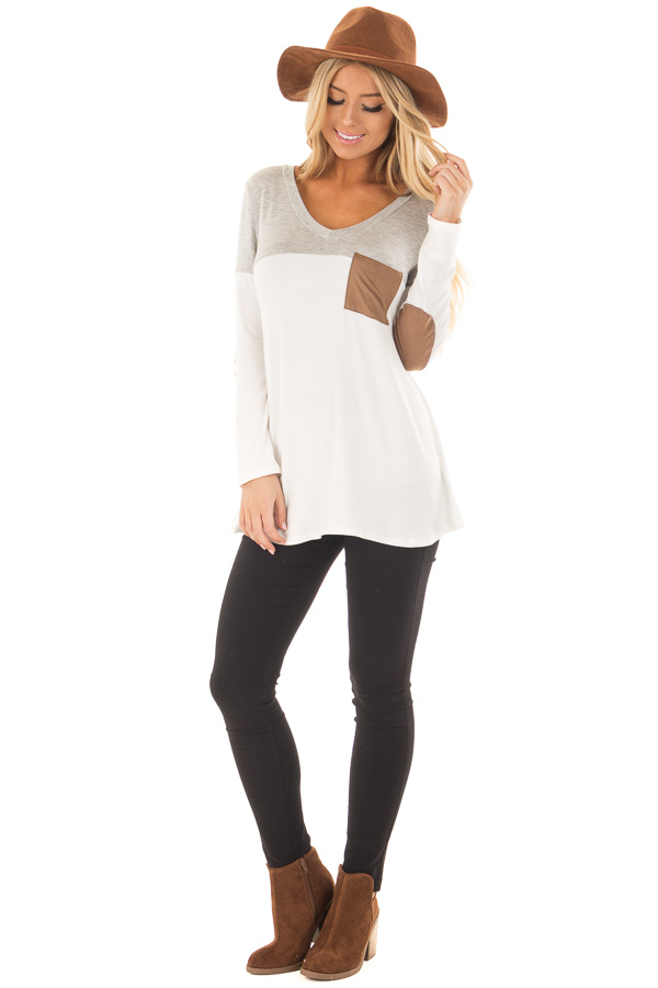Heather Grey and Ivory Top with Faux Suede Pocket front full body